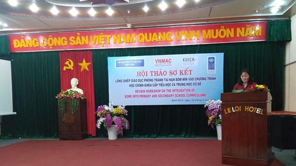 Toàn cảnh Hội thảo sơ kết Lồng ghép giáo dục phòng tránh tai nạn bom mìn trong chương trình học cấp tiểu học và trung học cơ sở tại Bình Định